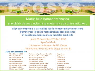 Soutenance thèse Marie Julie Ramanantenasoa