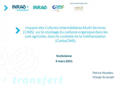 Impacts des Cultures Intermédiaire Multi-Services (CIMS) sur le stockage du carbone organique dans les sols agricoles, dans le contexte de la méthanisation