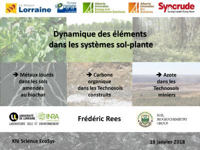 Dynamique des éléments dans les systèmes sol-plante